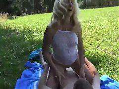 Hot Blonde Mom Outdoor Fucking Boy