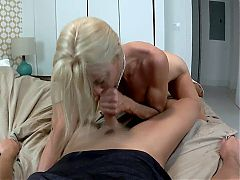 Stepmom Gives Dating Tips and Seduces Stepson With A Blowjob